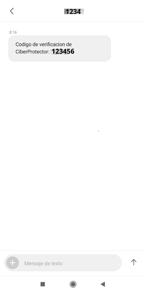 SMS código de validación